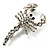 Small Clear Crystal Scorpion Brooch (Silver Tone) - view 2