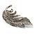 Dazzling Crystal Leaf Brooch (Silver Tone) - view 4