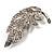 Dazzling Crystal Leaf Brooch (Silver Tone) - view 6