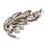 Dazzling Crystal Leaf Brooch (Silver Tone) - view 7