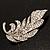 Dazzling Crystal Leaf Brooch (Silver Tone) - view 3