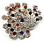 Multicoloured Crystal Peacock Open Tail Brooch (Silver Tone) - view 3