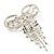 Enchanting Diamante Bow Charm Brooch (Silver Tone) - view 11