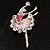 Silver Tone Crystal Dancing Ballerina Brooch (Light Pink) - view 2