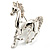 Silver Plated Galloping Horse Brooch - view 2