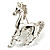 Silver Plated Galloping Horse Brooch - view 7