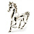 Silver Plated Galloping Horse Brooch - view 8