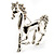 Silver Plated Galloping Horse Brooch - view 9