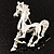 Silver Plated Galloping Horse Brooch - view 4