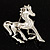 Silver Plated Galloping Horse Brooch - view 3