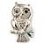 Silver Tone Crystal Owl Brooch