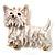 White  Enamel Puppy Dog Brooch (Gold Tone)