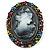 Multicoloured Bronze Vintage Cameo Brooch&Pendant