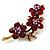Swarovski Crystal Floral Brooch (Antique Gold & Burgundy Red) - view 3