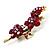 Swarovski Crystal Floral Brooch (Antique Gold & Burgundy Red) - view 7