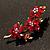 Swarovski Crystal Floral Brooch (Antique Gold & Burgundy Red) - view 2