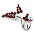 Burgundy Red Diamante Floral Brooch (Silver Tone)