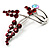 Burgundy Red Diamante Floral Brooch (Silver Tone) - view 3
