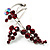 Burgundy Red Diamante Floral Brooch (Silver Tone) - view 4