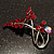 Burgundy Red Diamante Floral Brooch (Silver Tone) - view 2