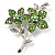 Light Green Swarovski Crystal Flower Brooch (Silver Tone)
