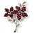 Magenta Swarovski Crystal Flower Brooch (Silver Tone)