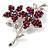 Magenta Swarovski Crystal Flower Brooch (Silver Tone) - view 3