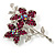 Magenta Swarovski Crystal Flower Brooch (Silver Tone) - view 6