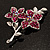 Magenta Swarovski Crystal Flower Brooch (Silver Tone) - view 5