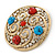 Large Vintage Round Turquoise Stone, Crystal Brooch (Gold Tone) - 67mm Diameter - view 3