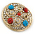 Large Vintage Round Turquoise Stone, Crystal Brooch (Gold Tone) - 67mm Diameter - view 5