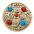 Large Vintage Round Turquoise Stone, Crystal Brooch (Gold Tone) - 67mm Diameter - view 2