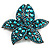 Large Azure Diamante Floral Brooch/ Pendant (Gun Metal Finish)