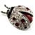 Red Enamel Ladybug Brooch (Silver Tone) - view 3