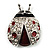 Red Enamel Ladybug Brooch (Silver Tone) - view 6