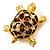 Cute Brown Enamel Crystal Turtle Brooch (Gold Plated)