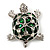 Cute Green Enamel Crystal Turtle Brooch (Rhodium Plated) - view 3