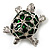 Cute Green Enamel Crystal Turtle Brooch (Rhodium Plated)