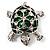 Cute Green Enamel Crystal Turtle Brooch (Rhodium Plated) - view 6