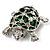 Cute Green Enamel Crystal Turtle Brooch (Rhodium Plated) - view 7