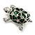 Cute Green Enamel Crystal Turtle Brooch (Rhodium Plated) - view 2