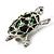 Cute Green Enamel Crystal Turtle Brooch (Rhodium Plated) - view 8