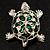Cute Green Enamel Crystal Turtle Brooch (Rhodium Plated) - view 5