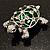Cute Green Enamel Crystal Turtle Brooch (Rhodium Plated) - view 10