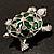 Cute Green Enamel Crystal Turtle Brooch (Rhodium Plated) - view 4