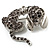 Cute Crystal Puppy Dog Brooch (Silver Tone)