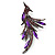 Sparkling Purple Crystal Fire-Bird Brooch (Gun Metal)