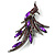 Sparkling Purple Crystal Fire-Bird Brooch (Gun Metal) - view 6