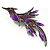 Sparkling Purple Crystal Fire-Bird Brooch (Gun Metal) - view 4