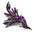 Sparkling Purple Crystal Fire-Bird Brooch (Gun Metal) - view 5